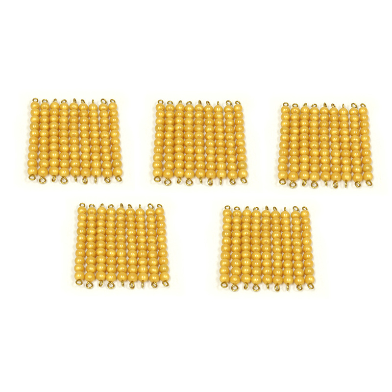 montessori golden beads Product features 9 golden 10 bars and a colored bead stair 1-9 the beads are plastic.